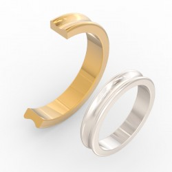 Fluted Concave Centre Wedding Band