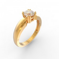 Solitaire 4 double claw round stone setting court shaped
