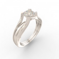 Solitaire 4 claw round stone setting double chenier shank